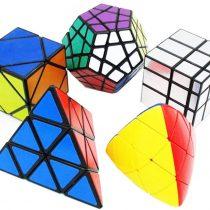 5 Packed, Magic Cube Puzzle Set of Pyraminx, Meganminx, Skewb, Mastermorphix, 3×3 Mirror Cube