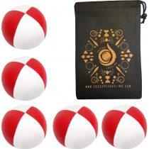 5 x Pro 115g Cascade Classic Juggling Balls – Thud Juggling Balls & Bag – Set of 5 Juggling Balls – Red/ White