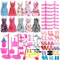 Asiv 110pcs Fashion Doll Clothes & Accessories, 10 Pack Clothes + 14 Pairs Shoes + 16Pcs Hangers + 2Pcs Doll Stand Holder + 68Pcs Accessories, Fit for 11.5 inch Girl Dolls