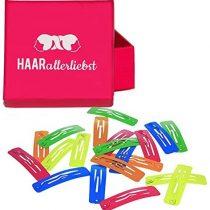 20Hair Clips Rectangular Hair 39mm Neon in Pink Box of Love