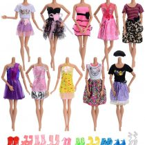 Asiv Girl's Fashion Clothes and Shoes For doll party gown dress For Christmas Birthday Gift (Pack of 10) A