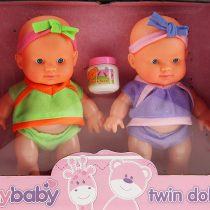 A – Z Set Of 2 Small Baby Twin Dolls In Gift Box – Green / Purple