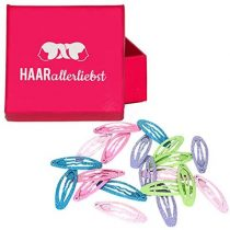 20Hair Clips Hair Oval Glitter 3.7cm in Pink Box of Love