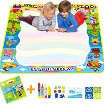 Aqua Water Doodle Mat, Large 100x 100cm Drawing Mat with Aqua Travel Doodle Book Many Accessories Magic Painting Water Pens Toddler Scribble Writing Pad Board Gift Boxed Square Animal Train Mat