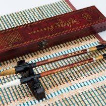 2x Hair Brushes Caligrafia High-end comadreja itachike and Wool juumou + ESTUCHE Wood 4321