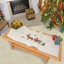 'Embroidery with Merry Christmas Design with Magical Reindeer and Santa on Sleigh–40cm X 100cm–Cross Stitch Pattern–100% Cotton Embroidery Thread–High Quality–Ready For Immediate Use–Table Runner–40x 100cm–for from the Kamaca Shop–Advent Christmas Autumn