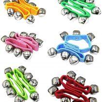 12 PCS Baby Kids Nylon Wrist Bells Rattles Ring Bracelet Random 6 colors