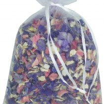 1 Litre of Mixed Colour Natural Biodegradable Delphinium Petals with a White Organza Bag – Wedding Throwing Confetti
