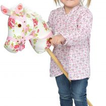 Pink Papaya hobby horse – stick horse – toy horse with neighing/galloping sounds