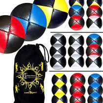 3x Pro Thud Juggling Balls (LEATHER) Professional Juggling Balls Set of 3 + Travel Bag! (Red/Blue/Yellow)