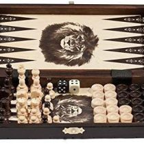 3 in 1 – Wooden Chess Backgammon Draughts SET – SMALL