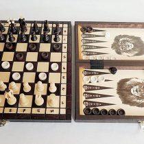 3 in 1 – Wooden Chess Backgammon Draughts SET – MEDIUM