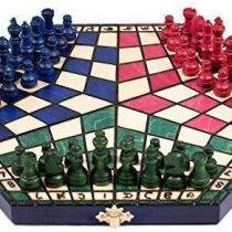 3 Three Players Chess Set – SMALL – 3 colour – RULES INCLUDED
