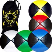 5x Pro Thud Juggling Balls – Deluxe (LEATHER) Professional Juggling Ball Set of 5 + Fabric Travel Bag! (Black/Mix)