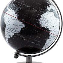 BRUBAKER Black Silver World Globe Chrome Design Stainless Steel 7.5 inches tall