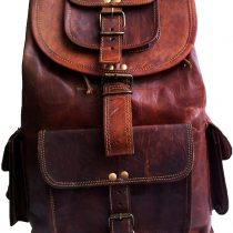 16″ Brown Leather Backpack Vintage Rucksack Laptop Bag Water Resistant Casual Daypack College Bookbag Comfortable Lightweight Travel Hiking/Picnic for Men