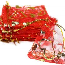 100x Jewelry Bag 11cmx16cm Heart Jewellery Box, Gift Wrapping, Organza Bags, rot, gold