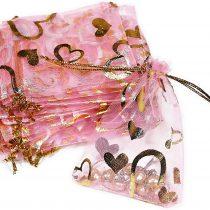 100x jewellery, jewellery, 13CMX18CM Case Gift Packaging, Organza Bag, Pink, gold, Herz