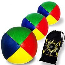 3x Pro Flames N Games 120g Thud Juggling Balls – Supreme PVC Professional Juggling Balls Set of 3 + Travel Bag. (Blue/Green/Red/Yellow)