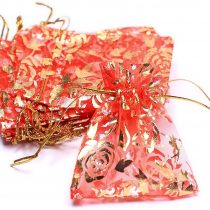 100x jewellery, jewellery, 17cmx23cm Case Gift Packaging, organza bag, bags, Red and gold, Rose Pattern