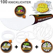 100 Glow Sticks COLD WHITE, Test Score: 1,4 'VERY GOOD', Complete Set incl. 100x TopFlex-, 2x Triple- und 2x Ball- Connectors