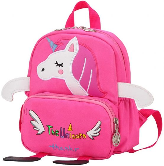 Unicorn School Bags for Girls, Nursery Backpack Toddlers Embroidered Printing Bag Rose Red with Reins
